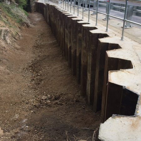 Creative piling solution used to replace retaining wall at Brickendon Lane